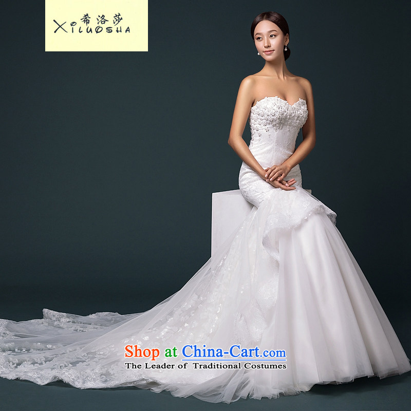 Hillo Lisa (XILUOSHA) Bride crowsfoot wedding word mahogany and long-sleeved shoulder for wiping the chest wedding dresses Sau San video new thin minimalist version?L