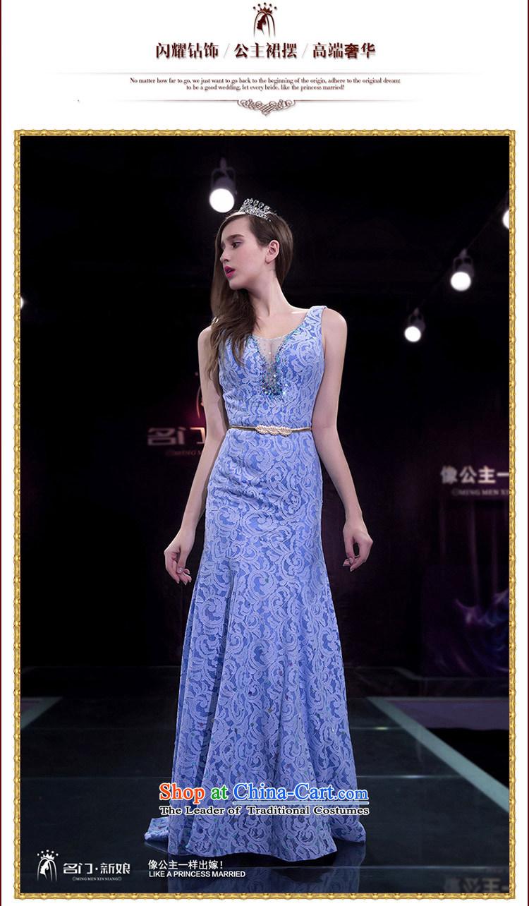 A Bride Evening Dresses Wedding 2017 Spring Crowsfoot Dress Small Blue Tail 2242 Purple L