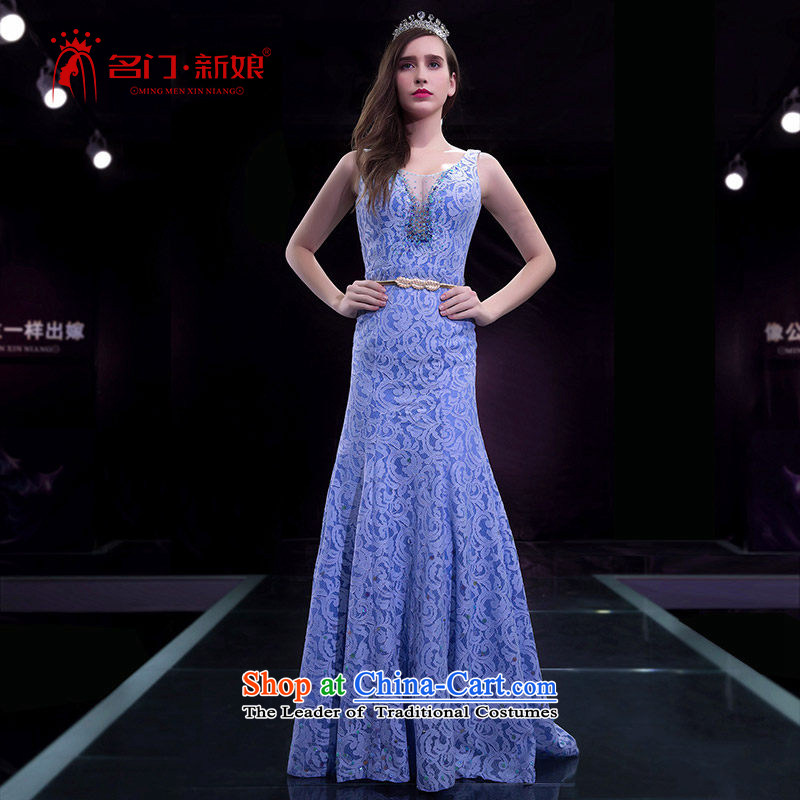 A bride evening dresses wedding dresses 2015 Spring crowsfoot dress small blue Tail 2242 purple�L pre-sale 7 Days