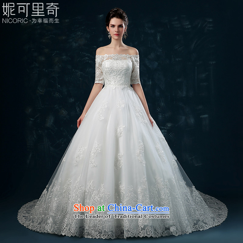 Wedding dress 2015 new word of autumn and winter bride shoulder wedding tail lace in cuff Sau San tie wedding tail L_7 days no reason to return_