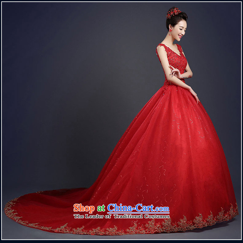 Wedding dresses 2015 Spring New Red wedding summer long tail to align the word shoulders Korean Sau San Diamond red tail) 3 piece?L