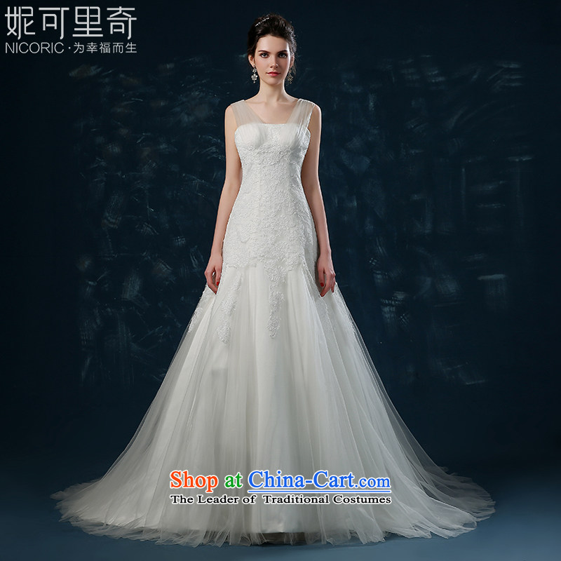 Wedding dress 2015 new autumn and winter Korean lace shoulder straps stylish wedding high-end princess bon bon skirt trailing white S(3-5 bride wedding day shipping)