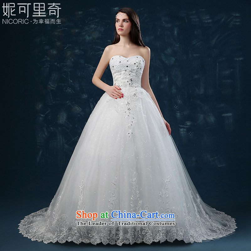 Wedding dress 2015 new stylish autumn and winter Korean brides anointed chest diamond wedding tail wedding strap white M bought Sau San wedding sent three kit)