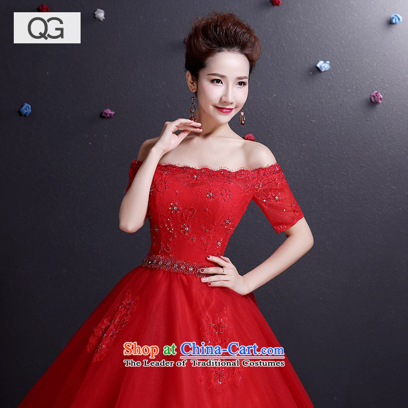 Wedding dresses of the word of the new 2015 Summer shoulder straps to align graphics thin bride red wedding red?L