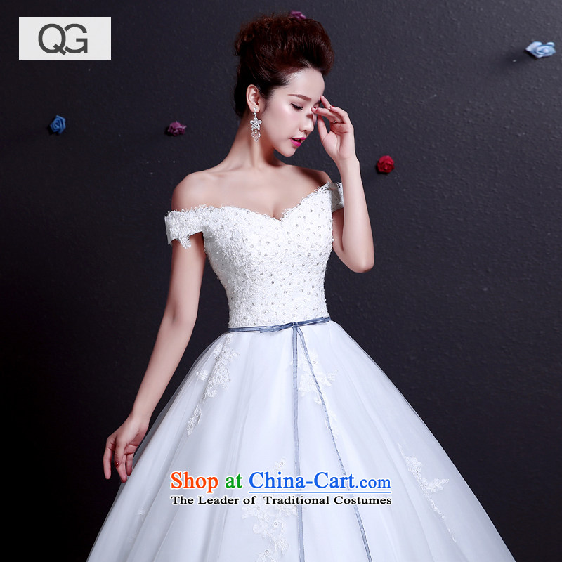 The word wedding dresses shoulder the new Wedding 2015 Summer strap video thin shoulders large yard White?XXL