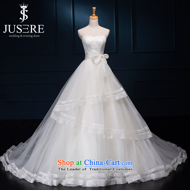 There is a Korean style and forget-me-not chest Sau San dream wedding dresses small trailing white?6 yards