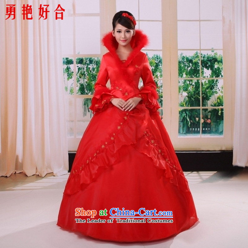 Yong-yeon and elegance of the new 2015 winter clothing clip cotton wedding dresses long-sleeved winter_ wedding dresses red red?XXXL not returning 4,026