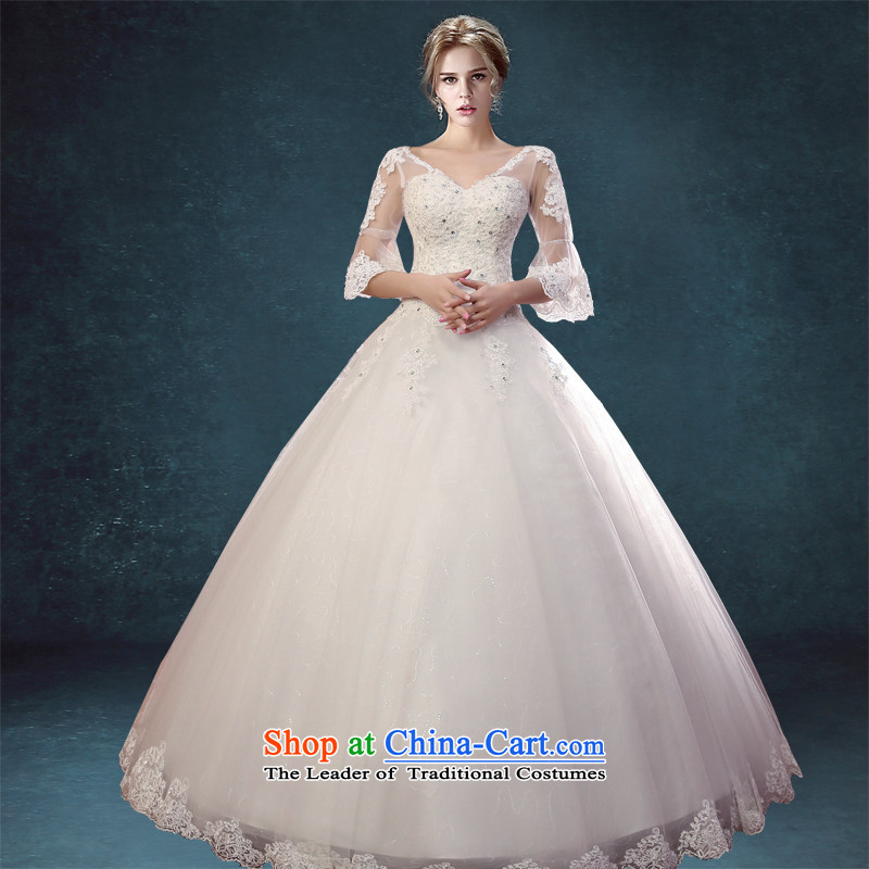 Every Korean Connie 2015 New Word Shoulder Drill water lace wedding princess in cuff deep V graphics to align the thin wedding dresses white�L