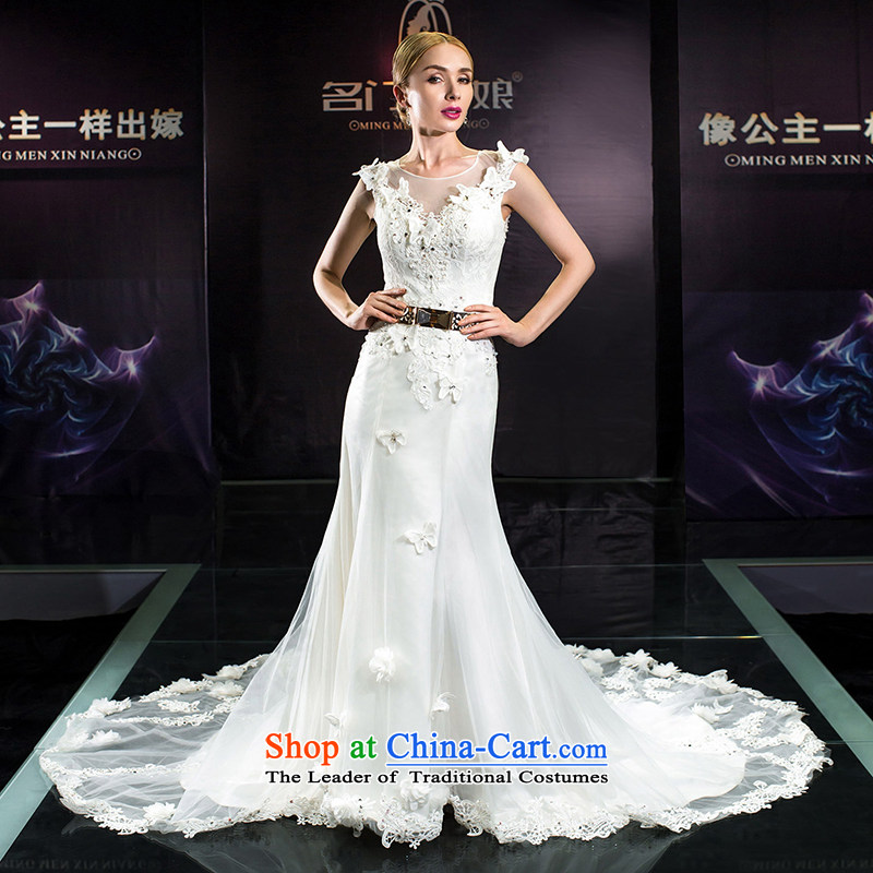 A Bride 2015 Summer wedding dresses wedding tail of the word shoulder wedding summer crowsfoot 2560 White tailored 20_