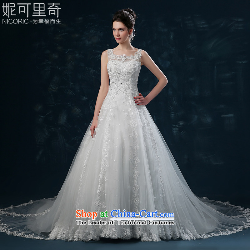 Wedding dress 2015 new bride of autumn and winter lace shoulders tail wedding Korean marriages wedding strap white M bought Sau San wedding sent three kit)