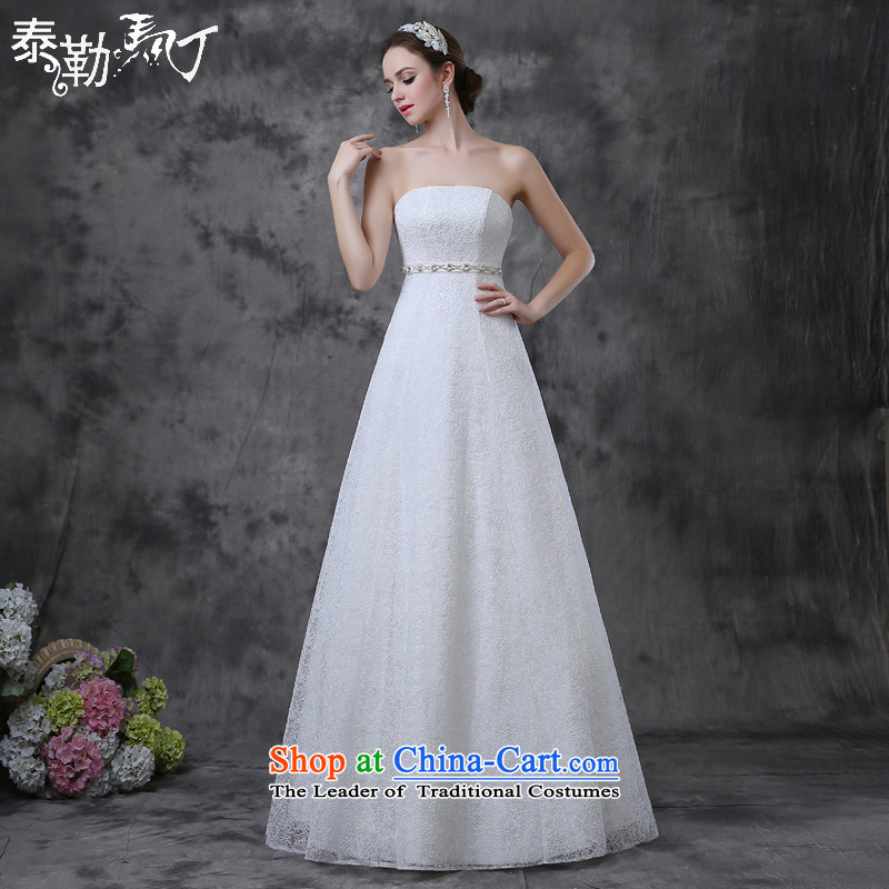 The new 2015 Martin Taylor anointed chest wedding dresses and stylish spring and summer to align A swing marriages wedding video thin wedding Sau San White _buy gift of three kit_ L