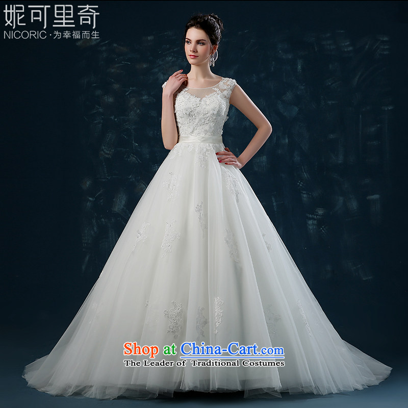 The smearing Wedding 2015 autumn and winter new Korean lace shoulders bride wedding back strap Sau San trailing white?S(3-5 wedding day shipping)