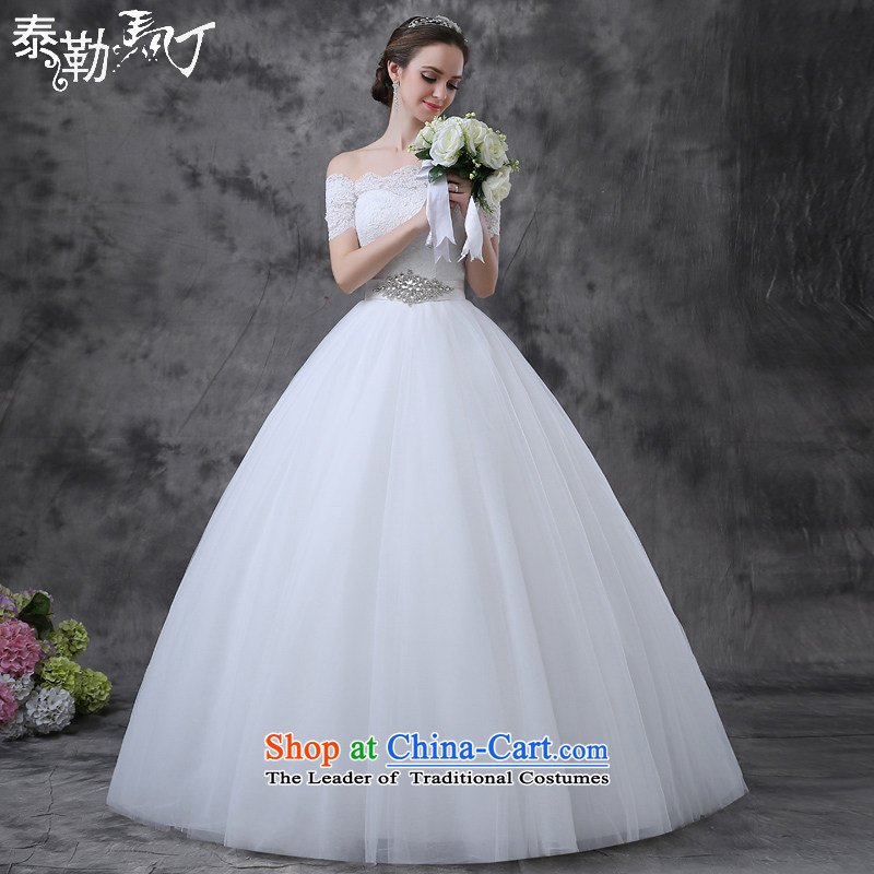 Taylor Martin 2015 Summer wedding dresses new word to align the shoulder larger bride Sau San video thin sleeveless marriage anointed chest wedding white _buy gift of three piece_ S