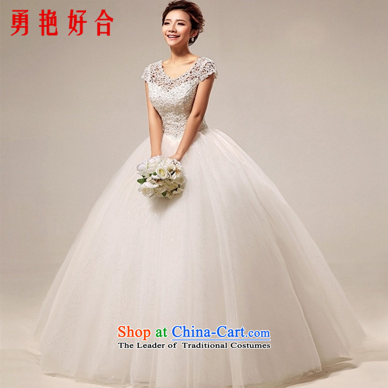 Yong-yeon and 2015 New wedding dresses retro palace sweet princess engraving on the design of a field shoulder straps bride wedding White?M