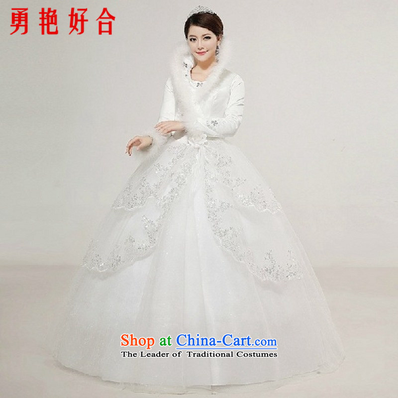 Yong-yeon and wedding dresses new 2015 Korean lace long-sleeved align to the Princess Bride wedding main large winter folder cotton wedding made no size White Replacement