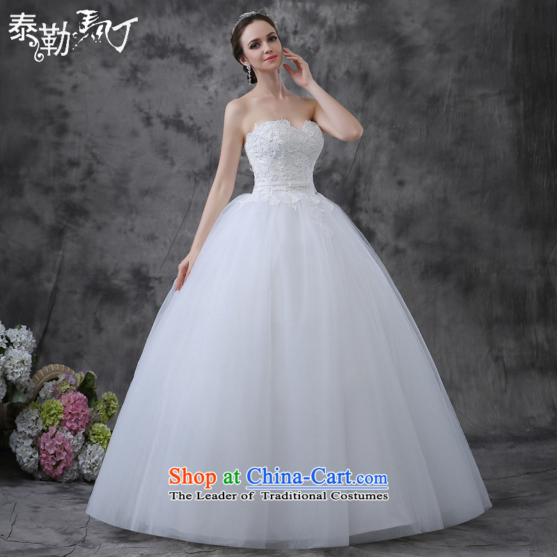 Taylor Martin 2015 Summer wedding dresses to align the new bride large pregnant women Sau San video thin sleeveless marriage anointed chest wedding white (buy gift of three kit) L
