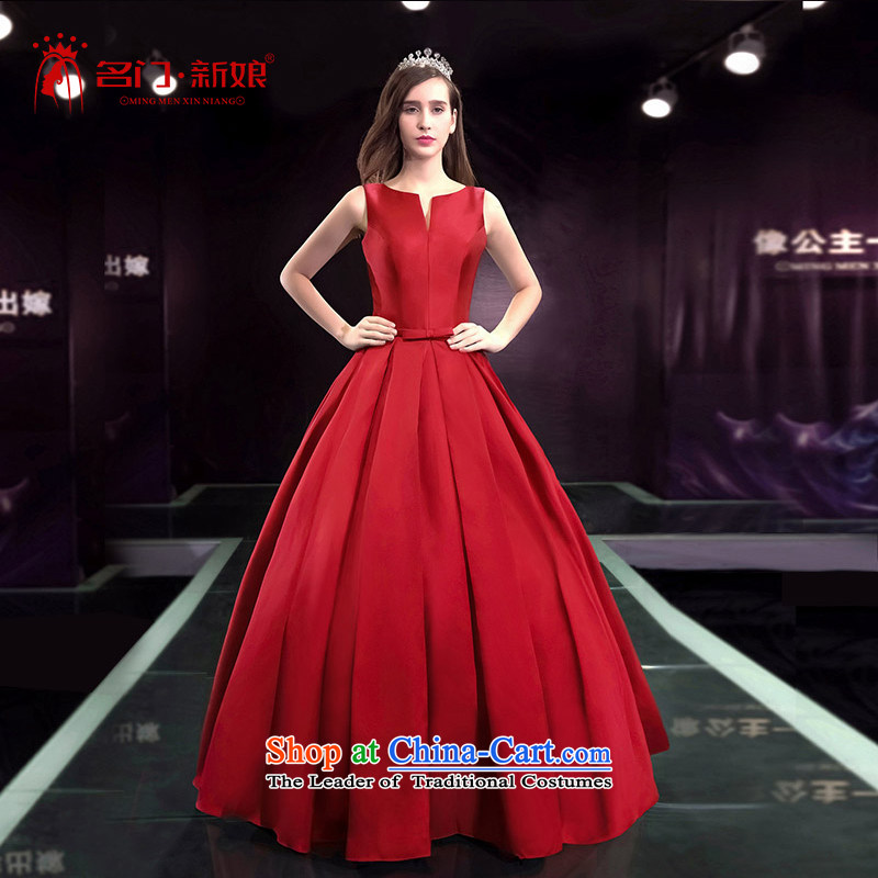 A bride wedding dresses new Word 2015 wedding shoulder red satin wedding minimalist 2590 XL