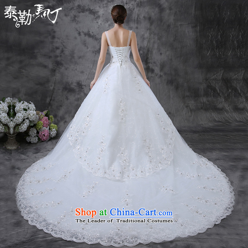 The new 2015 Martin Taylor tail spring and summer wedding marriages sleeveless large graphics thin wiping the Chest Sau San luxury big wedding white (buy gift of three piece) S