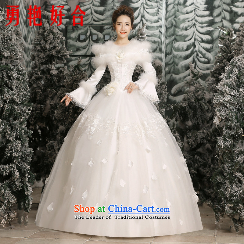 Yong-yeon and winter 2015 won the new version of the wedding dresses long-sleeved gross clip cotton white strap princess wedding white燣