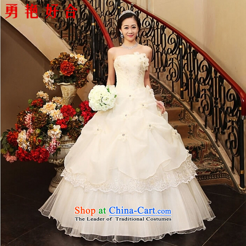 Yong-yeon and new 2015 Korean sweet princess wedding alignment with Chest straps flowers niba retro wedding dresses have been upgraded into a white tie straps�M