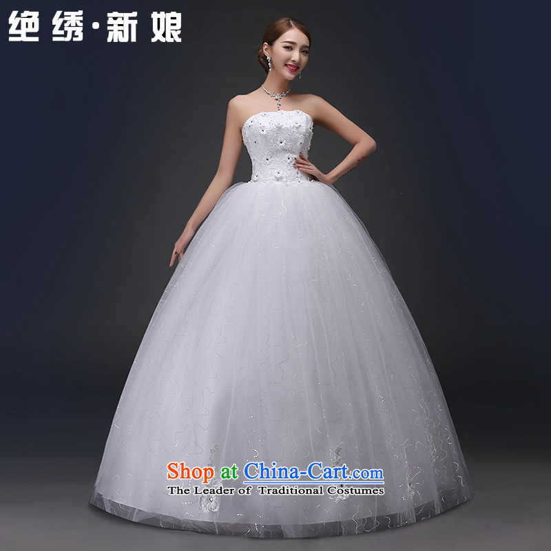 Embroidered is by no means a bride marriages Korean 2015 white wedding princess bon bon wiping the chest to wedding XXXL White 2 ft 4 waist Suzhou Shipment