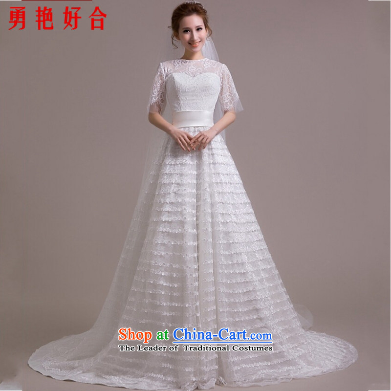 Yong-yeon and stars of the same powers of Yang wedding dresses shoulder the new Word 2015 wedding tail package shoulder Sau San video thin wedding dresses White聽M