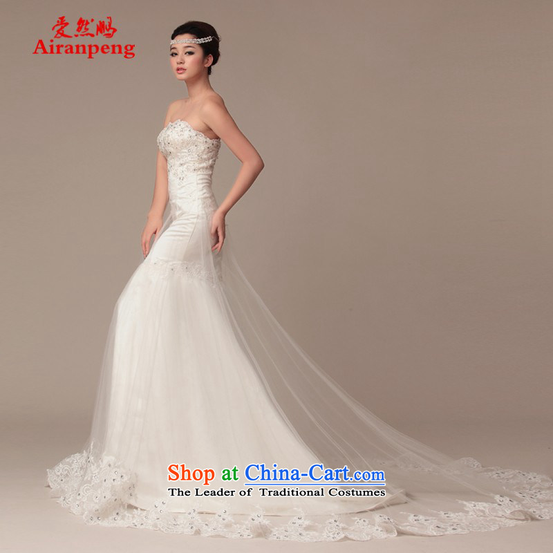 Wedding dress 2015 spring/summer at the new tissue chest straps satin lace long tail crowsfoot wedding?package returning XXL