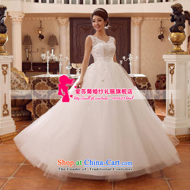 The new wedding shoulders V-neck strain wedding marriage spring and summer wedding Top Loin of Korean version of large white wedding code will not toggle dimensions not