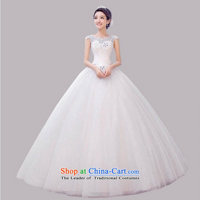 The first field shoulder shoulder wedding new simple and beautiful wedding dresses marriages wedding wedding dress hibiscus flower spring and summer and winter wedding white L