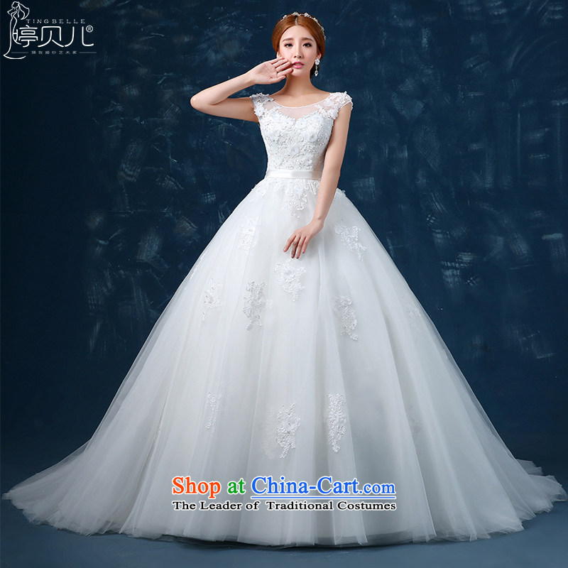 2015 WINTER wedding dresses spring marriages to align the tail of the word shoulder wedding shoulders large yard long trailing white streak�M