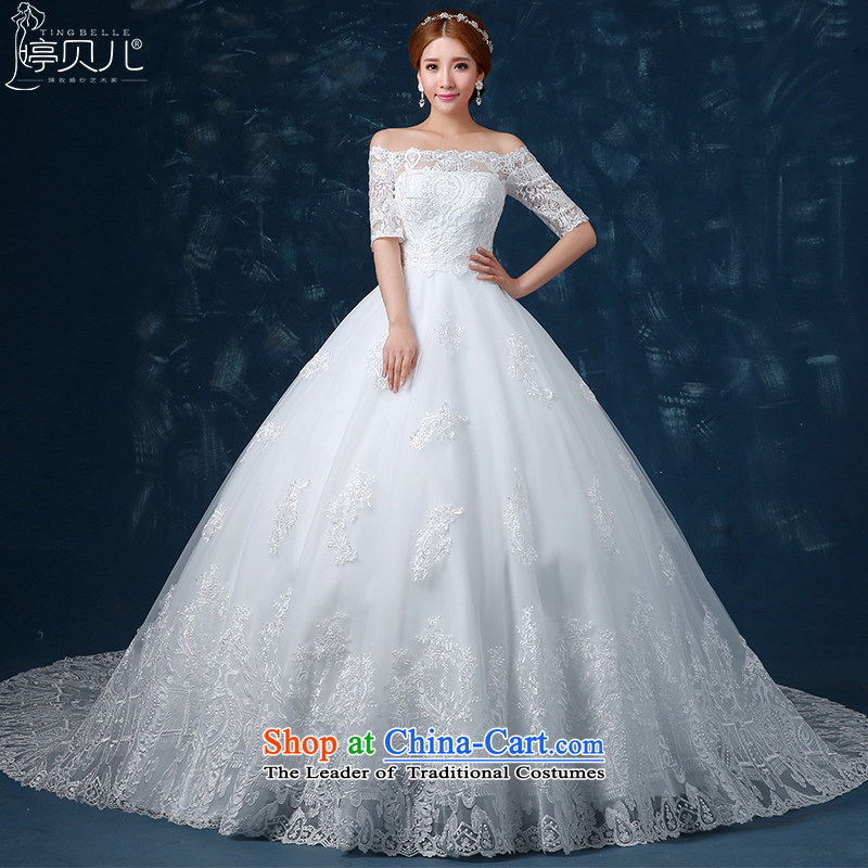 Beverly Ting tail wedding winter 2015 new wedding dresses palace bride lace a field to align the shoulder larger video thin strap white聽M