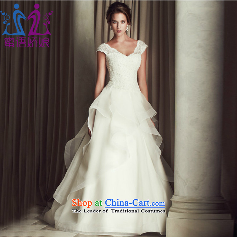 Talk to her new lace a field for the shoulder tail wedding western V-Neck shoulders Sau San video thin marriage bride wedding dress 2015 New White聽S