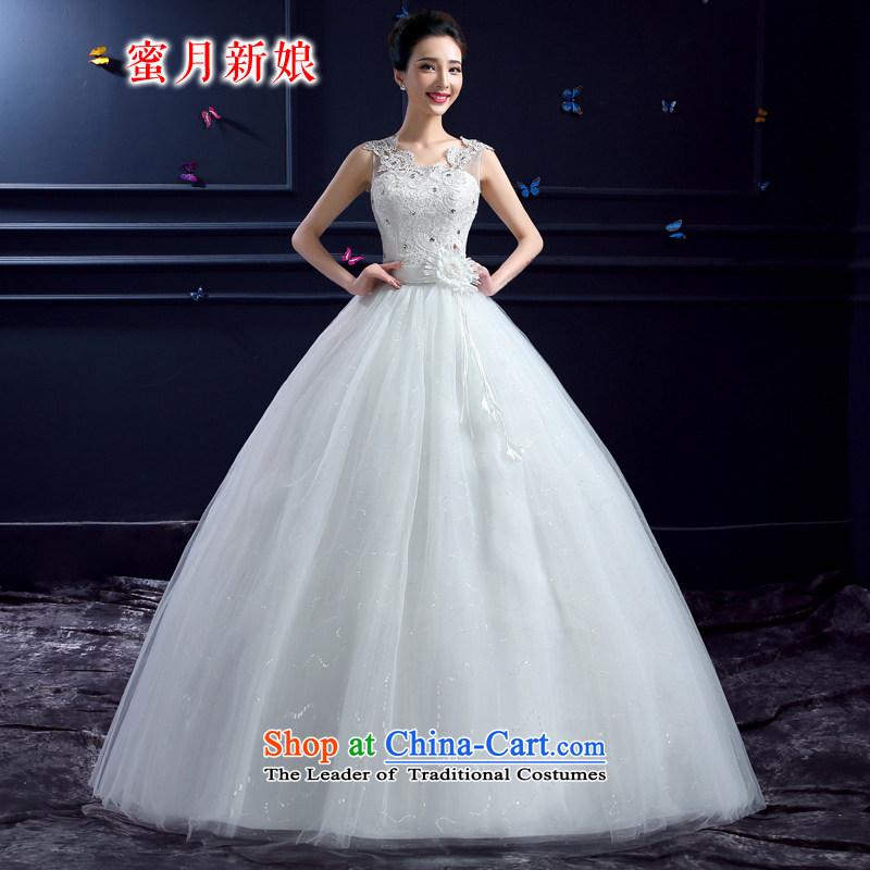 Honeymoon bride wedding dresses 2015 Amoi Sleeveless Korean lace package shoulder V-Neck pregnant women large wedding summer White?M