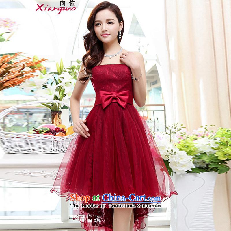 To 2015 dress bon bon skirt female new stylish sleeveless Sau San video thin elegant lace printed fabrics dresses wedding dress wine red?M