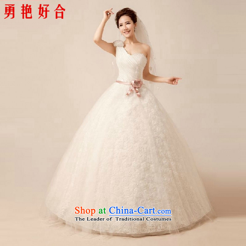 Yong-yeon and hand-stitched water drilling wedding dresses new summer 2015 new sexy video thin white princess shoulder straps to align the wedding White聽M