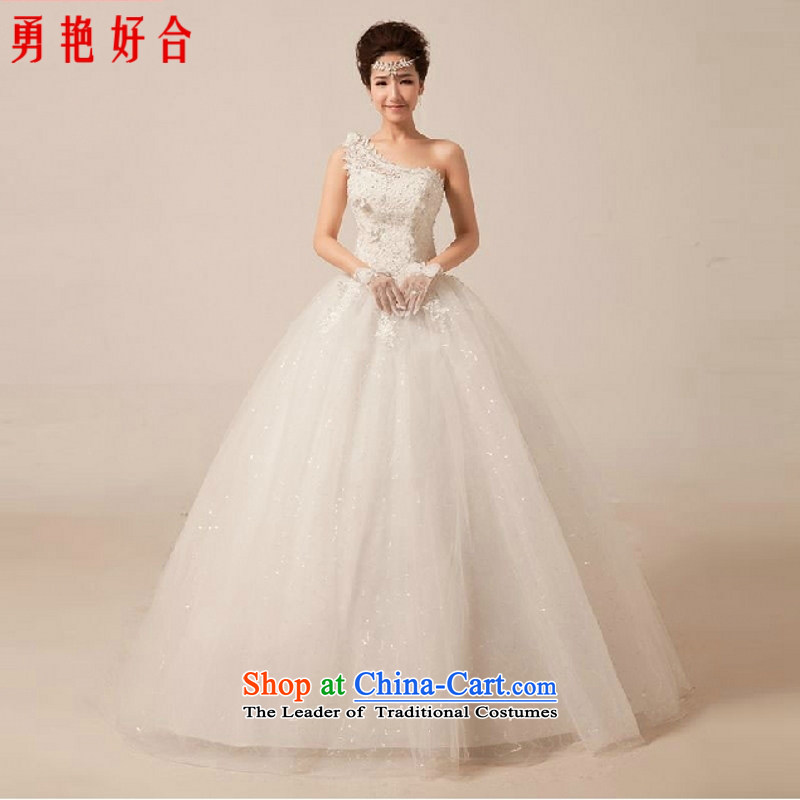 Yong-yeon and Korean style wedding dresses princess new summer 2015 Graphics thin lace shoulder on-chip to align the strap wedding White聽XXL
