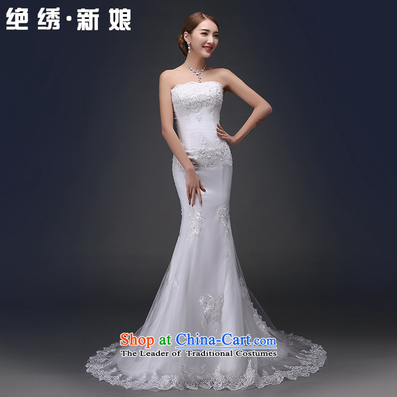2015 Spring/Summer new Korean fashion lace anointed chest Sau San crowsfoot straps thin graphics bride tail wedding dress?code?1 S white feet 9 Get Suzhou Shipment