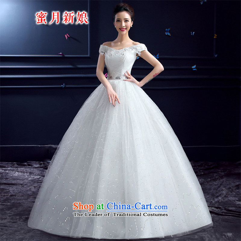 Honeymoon bride 2015 Summer new wedding dresses Korean word princess sweet your shoulders to lace Diamond Wedding White?M