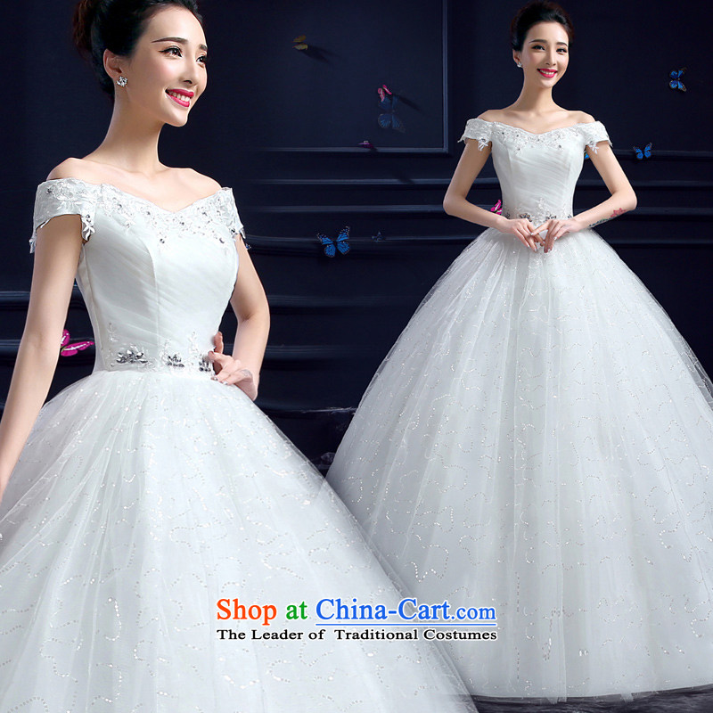Honeymoon bride 2015 Summer new wedding dresses Korean word princess sweet your shoulders to lace diamond wedding white�L