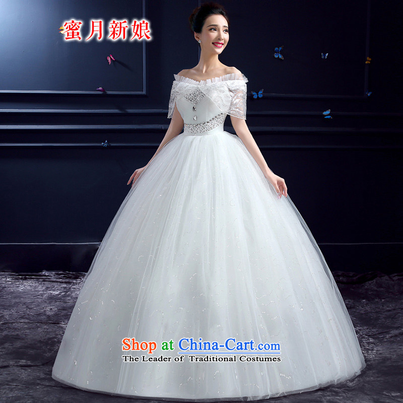 Honeymoon bride 2015 Summer new wedding dresses Korean word princess sweet your shoulders to lace on chip wedding white�L