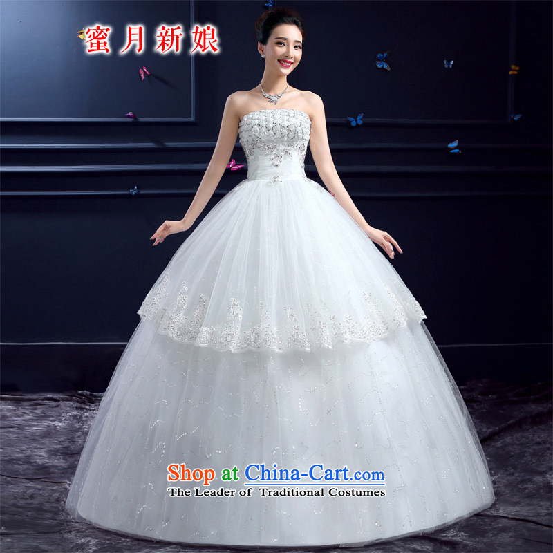 Wedding 2015 new wedding dresses honeymoon bride anointed chest wedding Korean diamond on-chip to align the wedding white XS