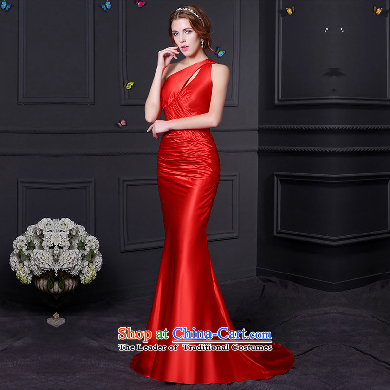 Custom Wedding 2015 dressilyme wedding dresses spring and summer new stylish draw folds Sau San crowsfoot back at the evening dress uniform bride Red - no spot tailored