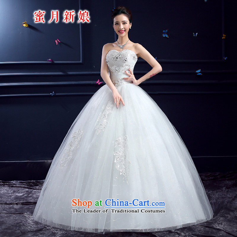 Wedding 2015 new wedding dresses honeymoon bride anointed chest wedding stunning bright chip lace to align the wedding White?M