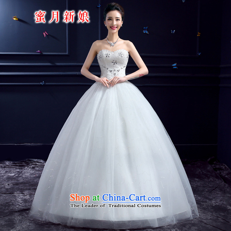 Wedding 2015 new wedding dresses honeymoon bride anointed chest wedding pearl diamond wedding to align the princess white?XS
