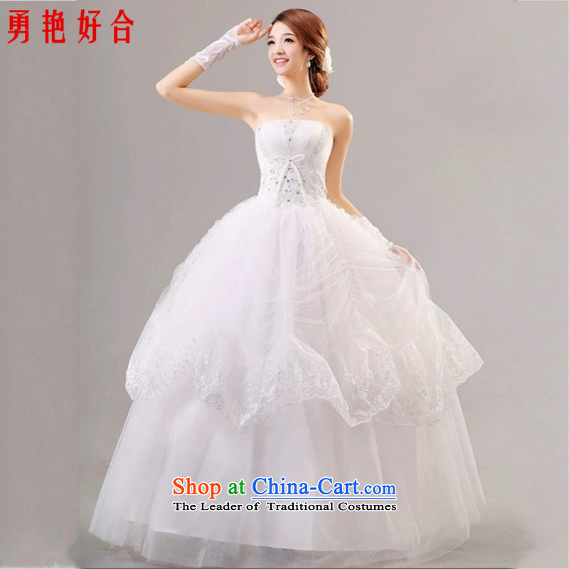 Yong-yeon and Korean Bridal Suite 2015 Summer new sweet wedding dresses elegant minimalist wiping the chest to Princess Royal Wedding White�XXL