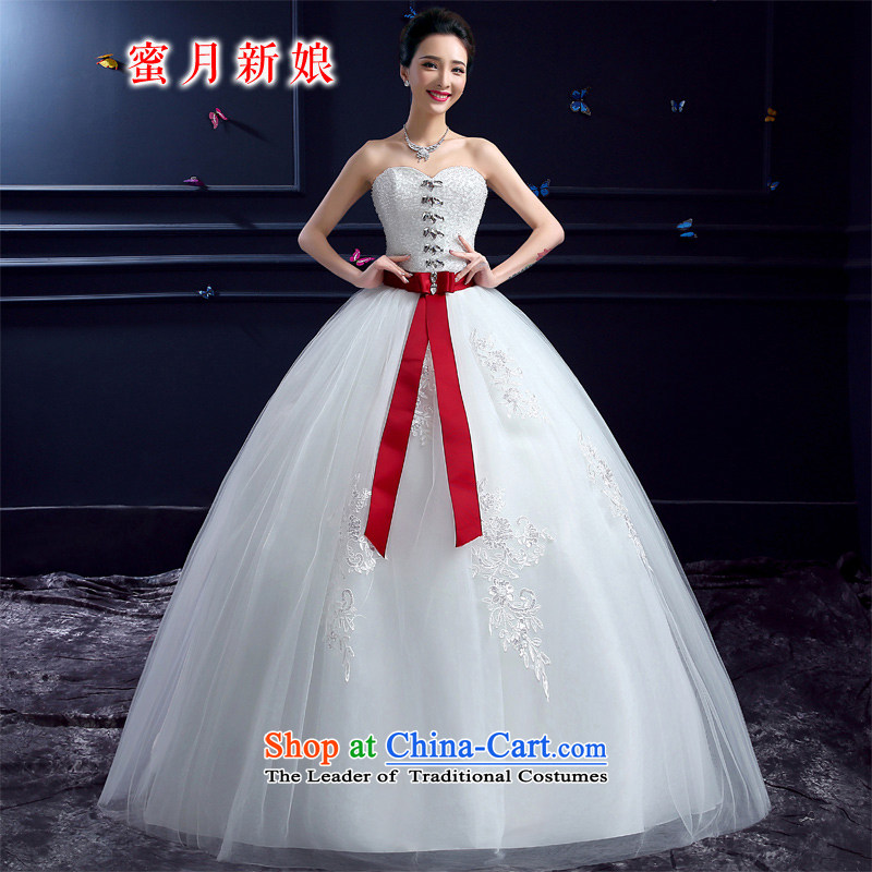 Wedding 2015 new wedding dresses honeymoon bride anointed chest diamond wedding to align the princess butterfly marriage yarn White XXL