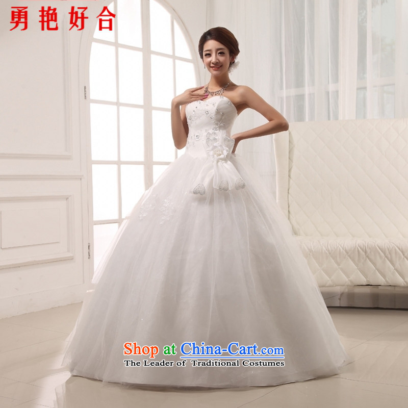 Yong-yeon and?wipe the new 2015 chest to bind with hand-drilling marriages wedding dress Princess White?XXL