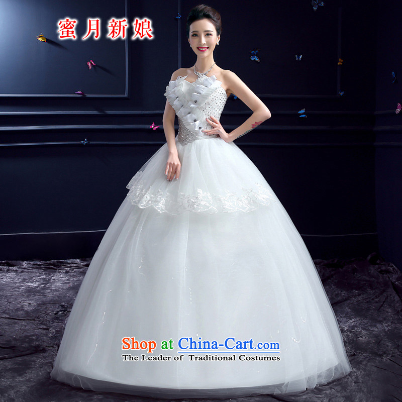 Wedding 2015 new wedding dresses honeymoon bride anointed chest wedding diamond studs to align the Princess Pearl Wedding White聽M