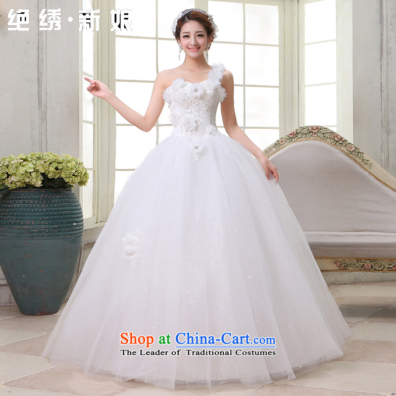 Embroidered is marriages wedding dresses 2015 new need to align the shoulder flowers Korean Princess straps, white tailored does not allow
