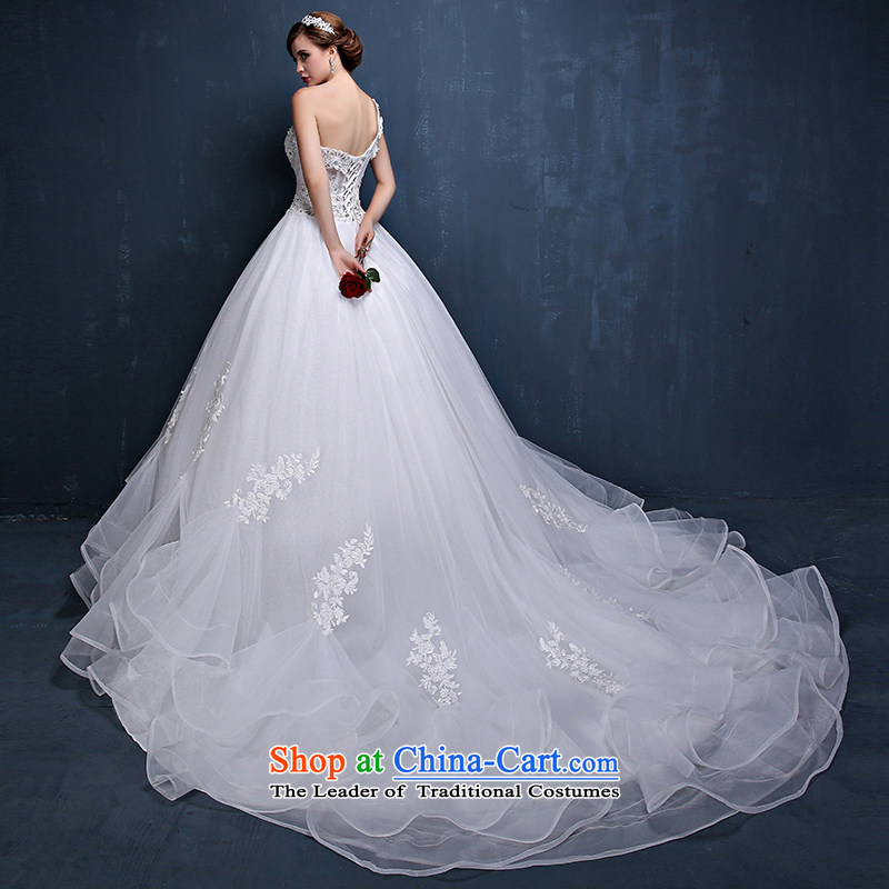 Wedding dress 2015 Spring_Summer new Korean shoulder larger video thin tail marriages straps wedding dresses white?XXL_ waist 2.4_